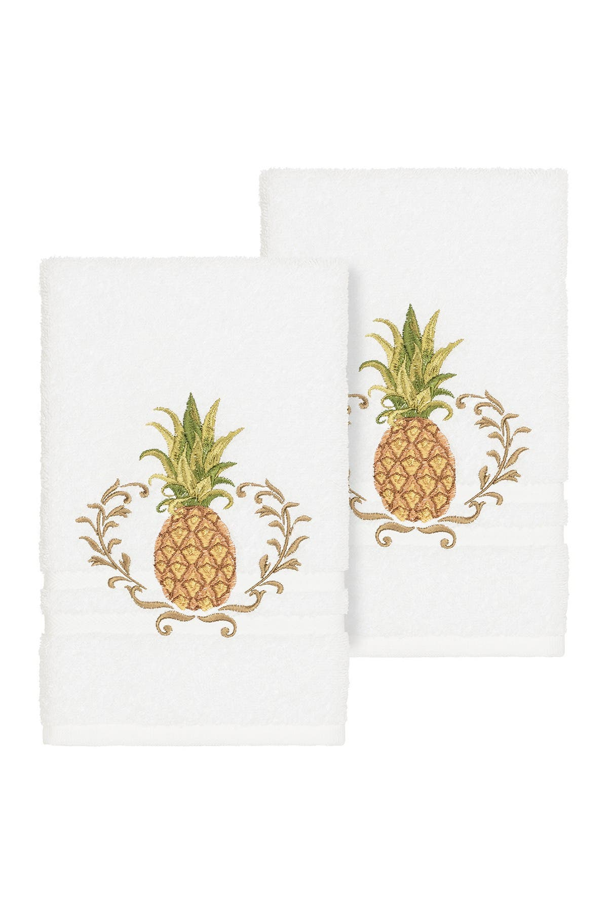 Image of LINUM HOME Welcome Embellished Hand Towel - Set of 2 - White