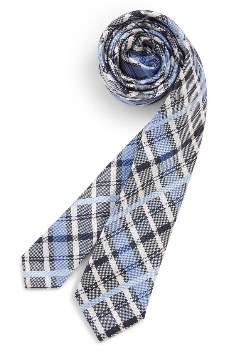 NORDSTROM Zachary Plaid Silk Tie, Main, color, BLUE