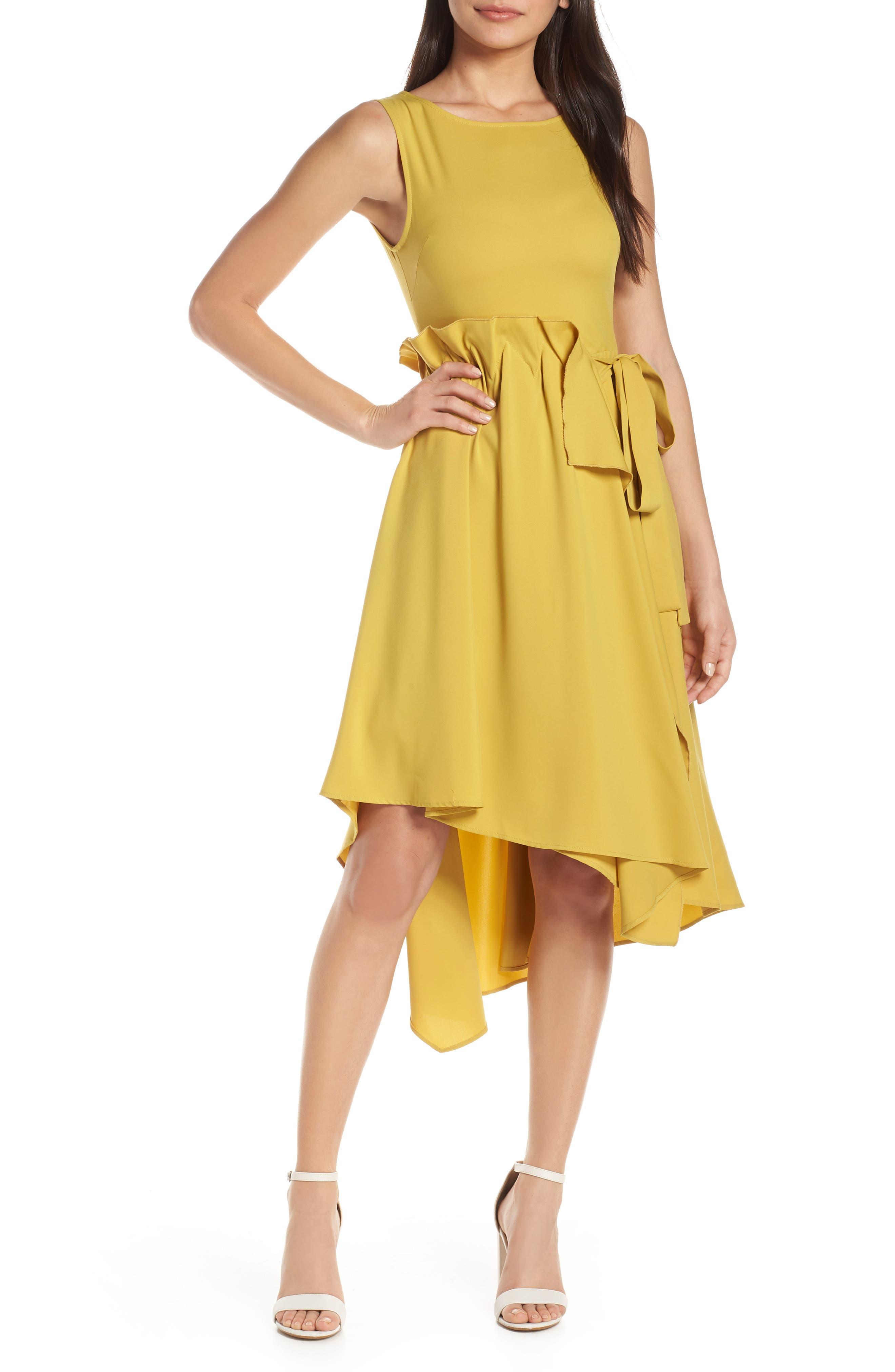 Caara Asymmetrical High/low Dress, Yellow