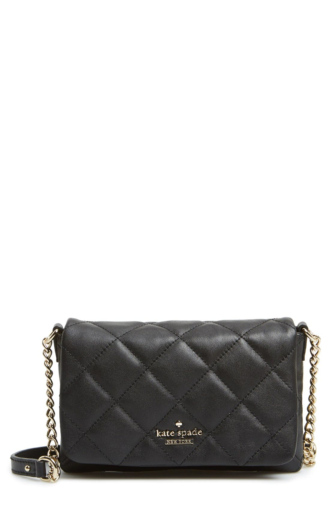 'emerson place - julee' quilted leather crossbody bag, Main, color, 001