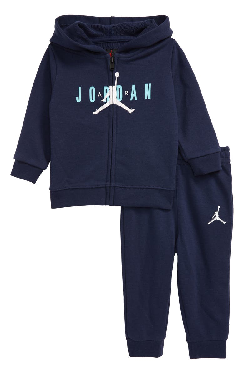 JORDAN Jumpman Full Zip Hoodie & Jogger Pants Set, Main, color, MIDNIGHT NAVY
