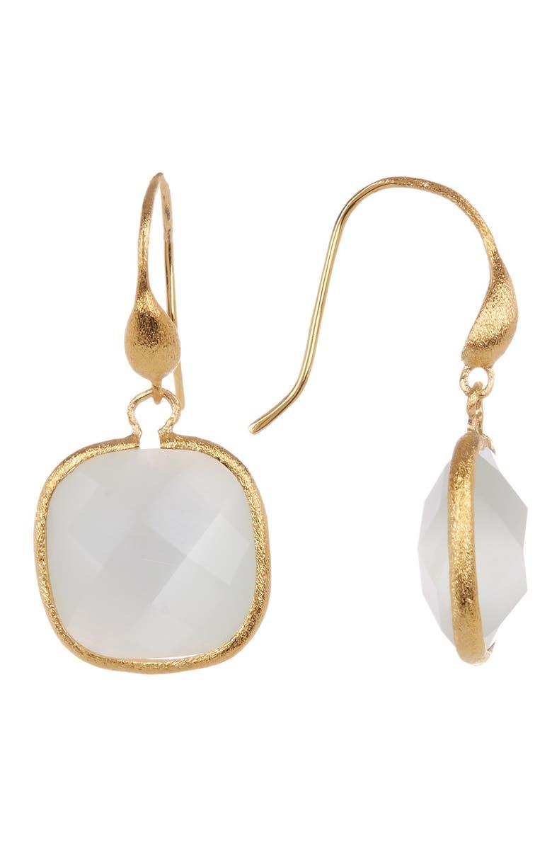 RIVKA FRIEDMAN 18K Gold Clad White Cat's Eye Crystal Dangle Earrings, Main, color, 18K GOLD CLAD