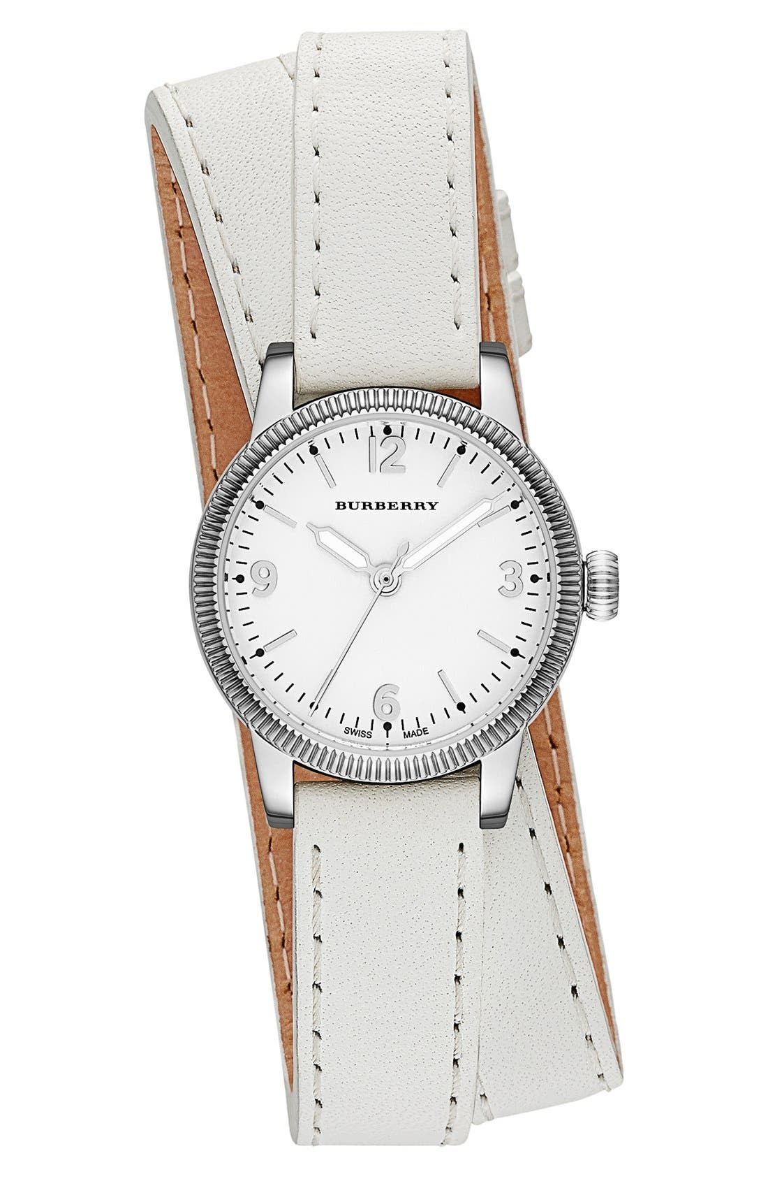 ,                             'Utilitarian' Round Leather Wrap Watch, 30mm,                             Main thumbnail 6, color,                             100