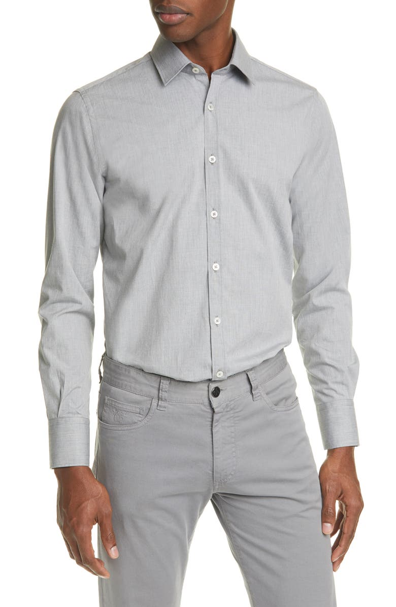 CANALI Regular Fit Solid Button-Up Shirt, Main, color, GREY