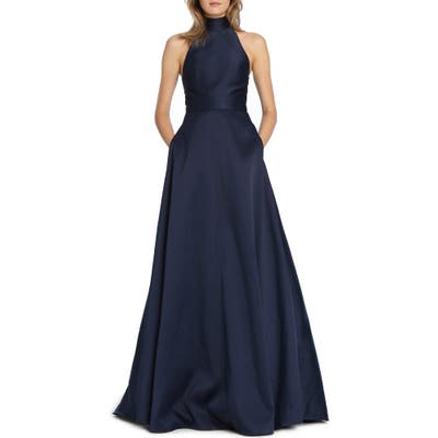 Ml Monique Lhuillier Satin Mock Neck Evening Dress, Blue