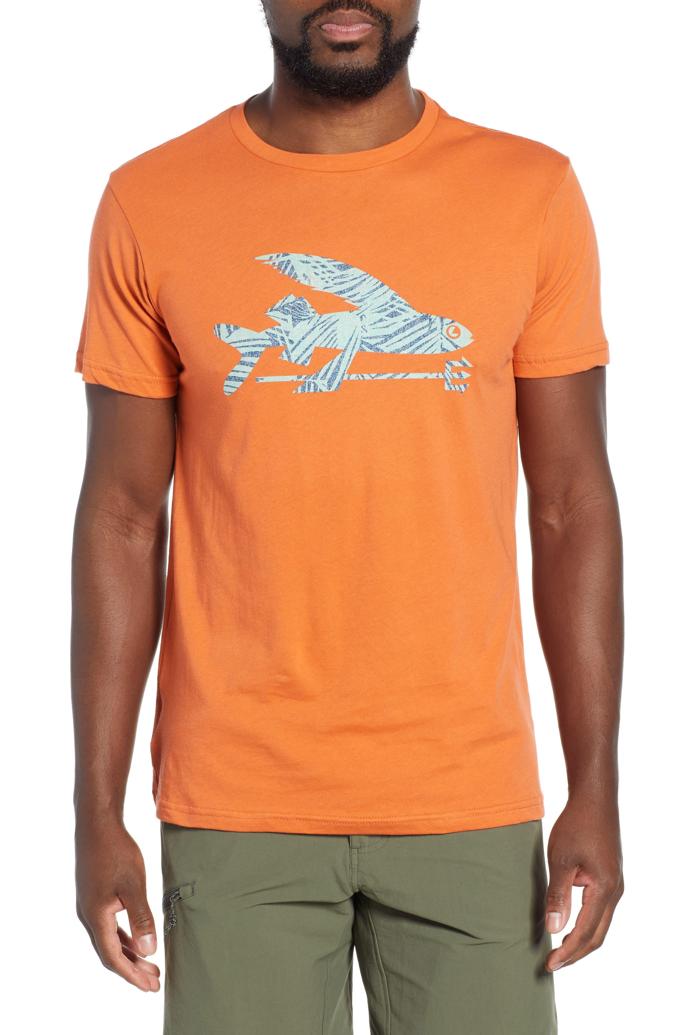 Patagonia Flying Fish Regular Fit Organic Cotton T-Shirt, Orange