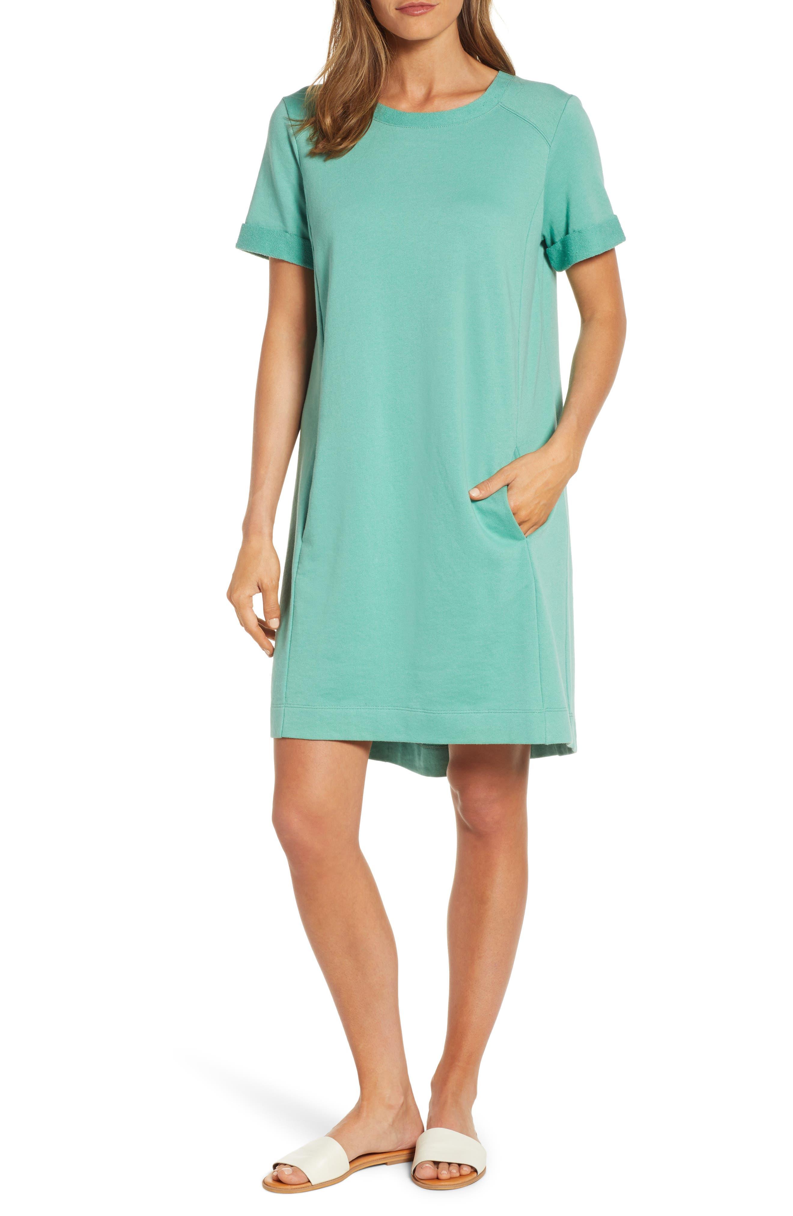 Petite Caslon Short Sleeve Cotton Blend Dress, Green