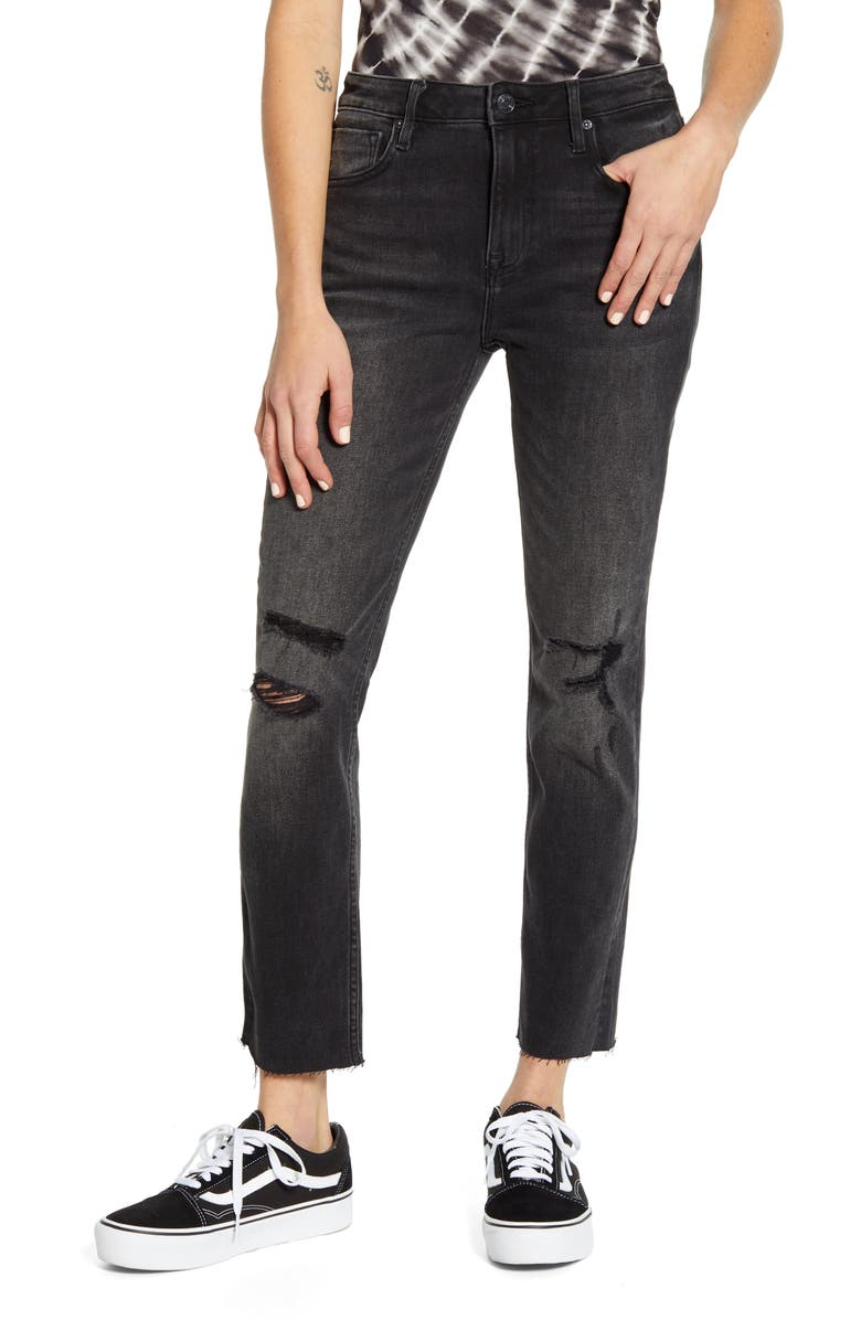 VIGOSS Stevie Ripped Crop Straight Leg Jeans, Main, color, 002