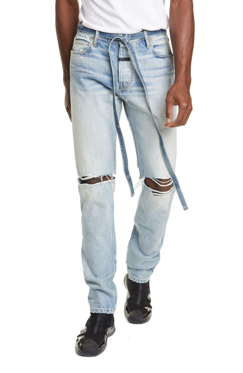FEAR OF GOD Distressed Tie Waist Slim Leg Jeans, Main, color, VINTAGE INDIGO