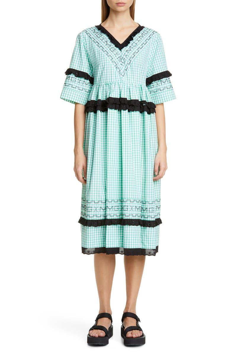 MOLLY GODDARD Frank Gingham Midi Dress, Main, color, 300