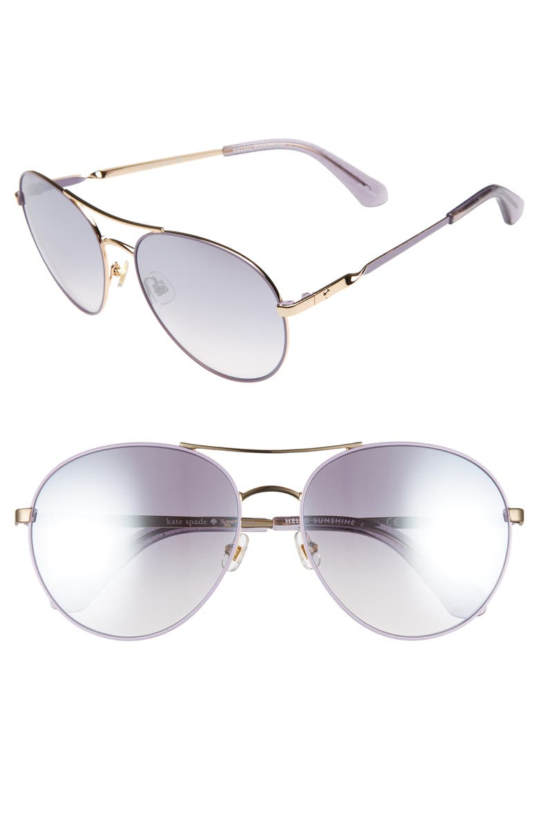KATE SPADE NEW YORK joshelle 60mm aviator sunglasses, Main, color, 510