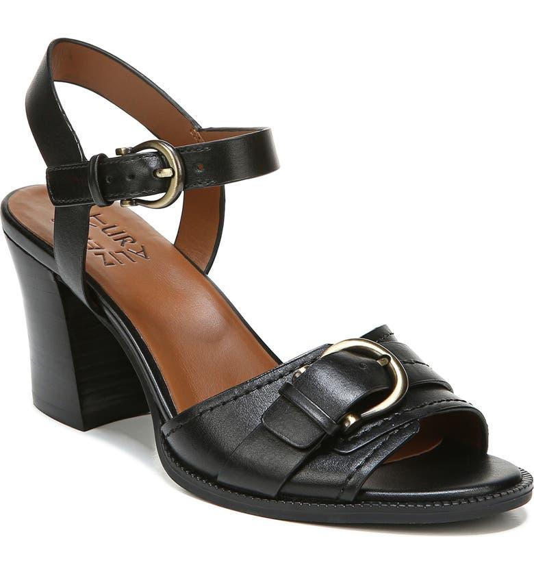NATURALIZER Malika Ankle Strap Sandal, Main, color, BLACK LEATHER