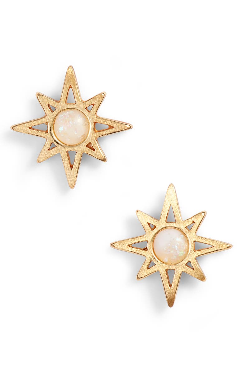 JULES SMITH Radiant Stud Earrings, Main, color, GOLD/ OPAL
