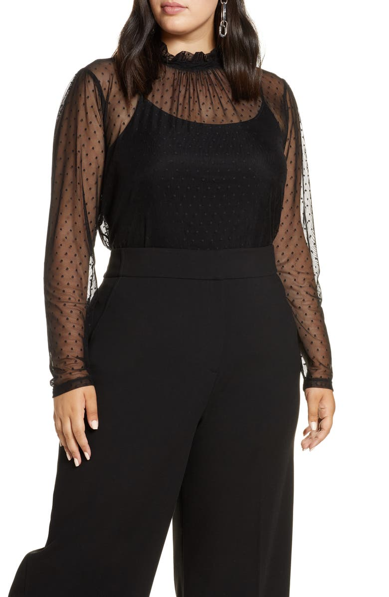 HALOGEN<SUP>®</SUP> Ruffle Neck Swiss Dot Mesh Top, Main, color, BLACK