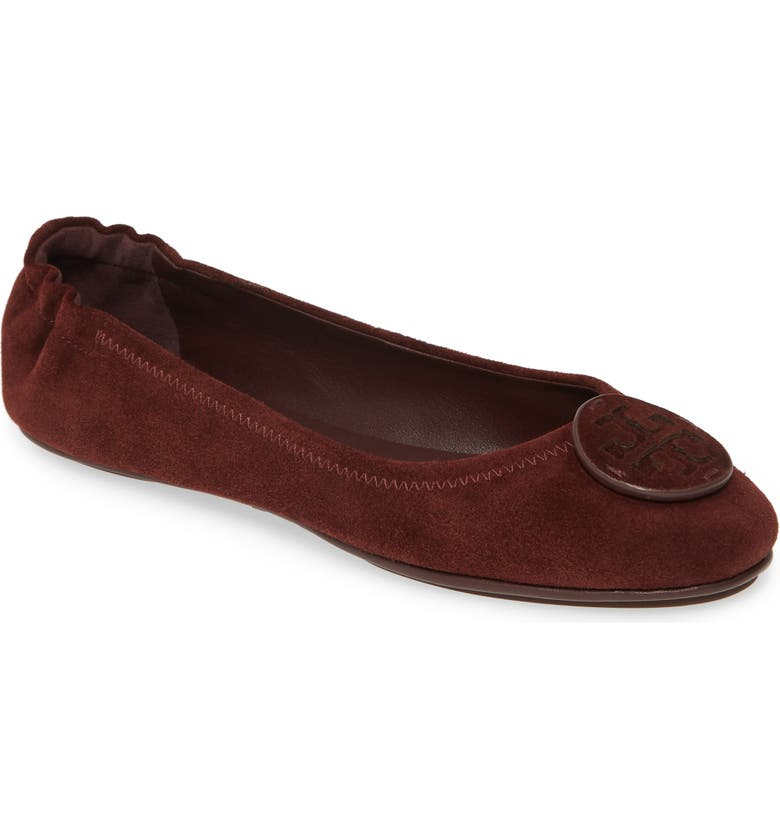 TORY BURCH 'Minnie' Ballet Flat, Main, color, BLACK CHERRY