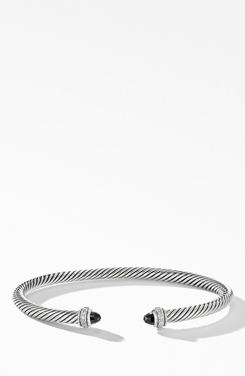 DAVID YURMAN 4mm Cable Classic Bracelet with Semiprecious Stones & Diamonds, Main, color, BLACK ONYX