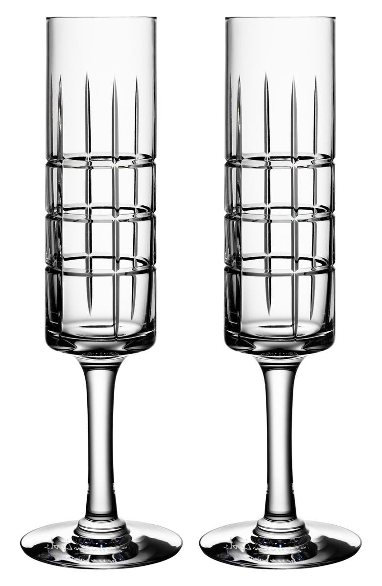 ORREFORS 'Street' Crystal ChampagneFlutes, Main, color, CLEAR