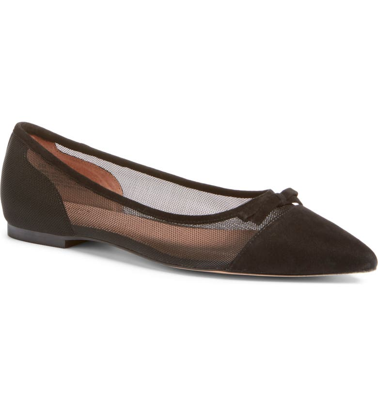 HALOGEN<SUP>®</SUP> x Atlantic-Pacific Sadee Pointed Toe Flat, Main, color, BLACK MESH/SUEDE