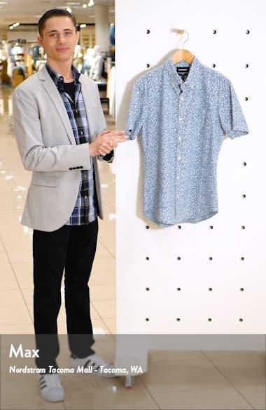 Riviera Slim Fit Print Chambray Short Sleeve Button-Down Shirt, sales video thumbnail