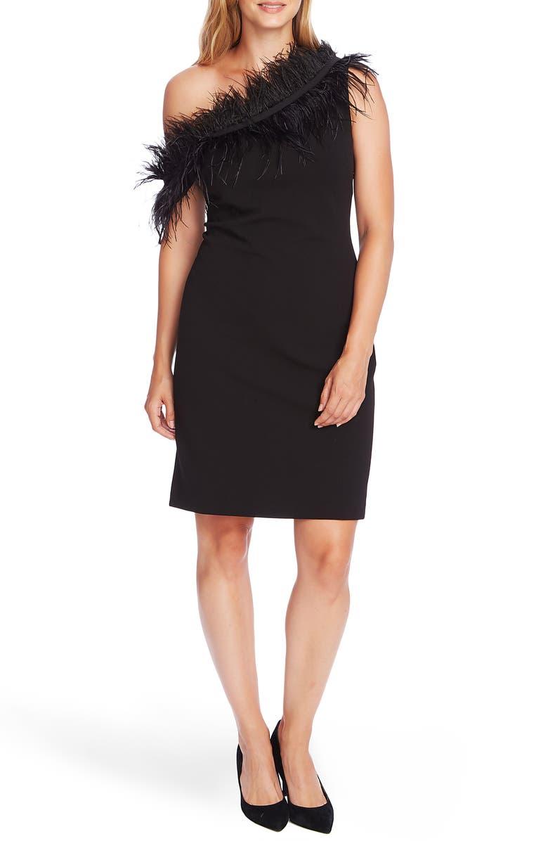 VINCE CAMUTO One-Shoulder Feather Trim Cocktail Dress, Main, color, RICH BLACK
