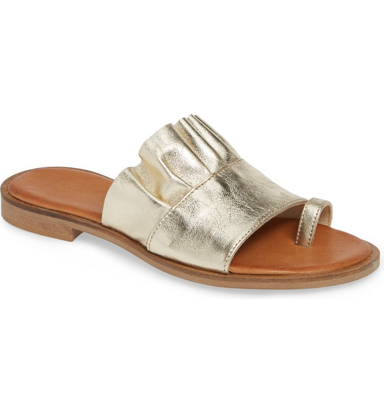 SHERIDAN MIA Bee Metallic Ruffle Slide Sandal, Main, color, GOLD LEATHER