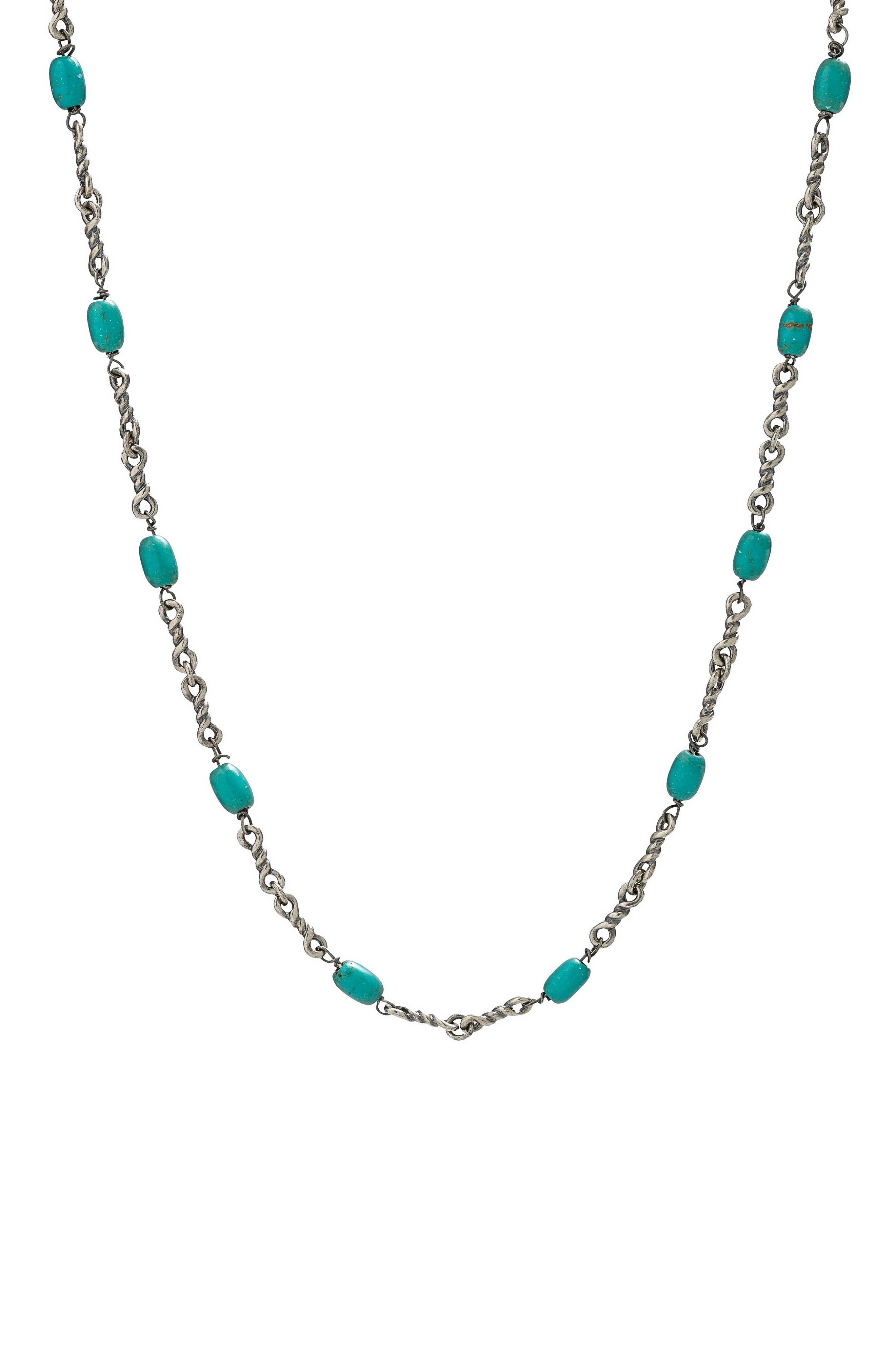 Men's Turquoise Twisted Cable Chain Necklace