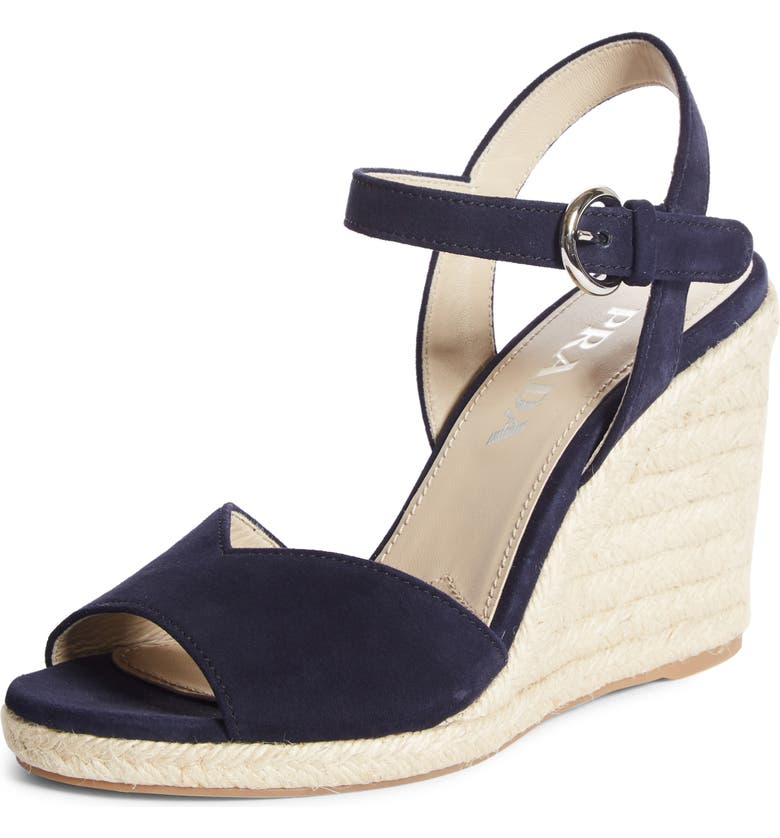 PRADA Raffia Wedge Sandal, Main, color, BLUE SUEDE