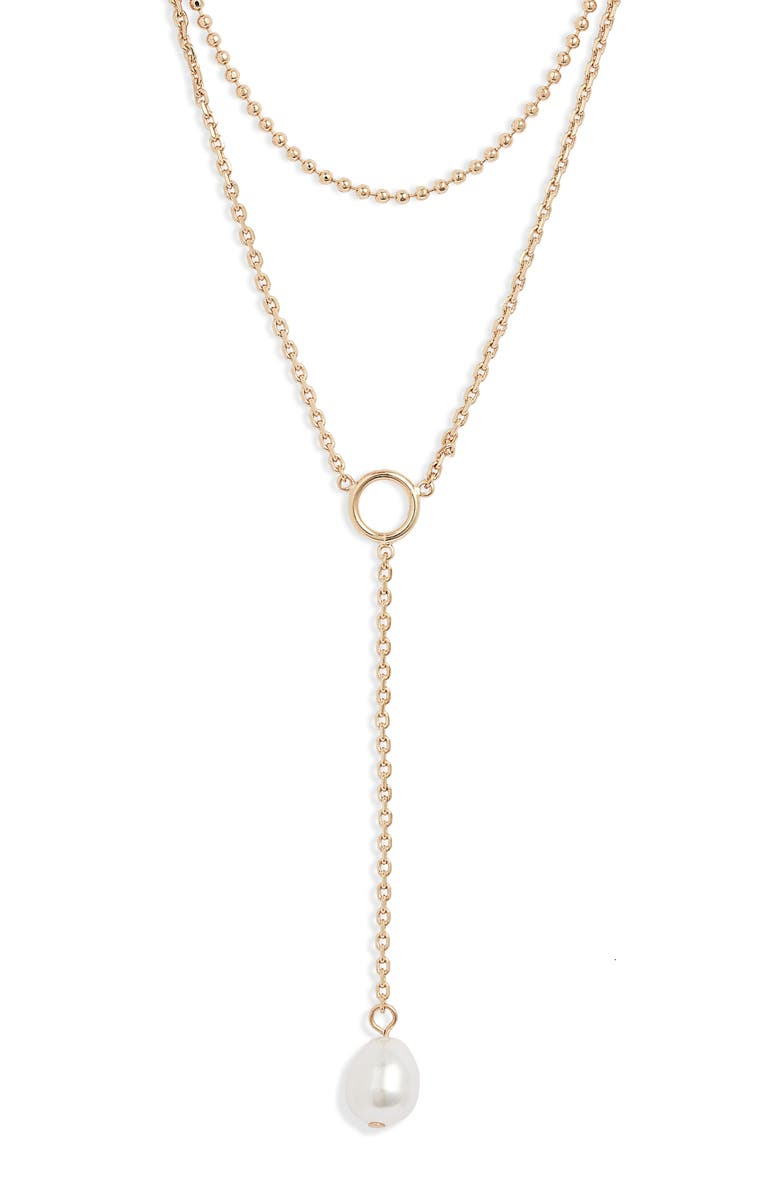 HALOGEN<SUP>®</SUP> Imitation Pearl Layered Y-Necklace, Main, color, WHITE- GOLD