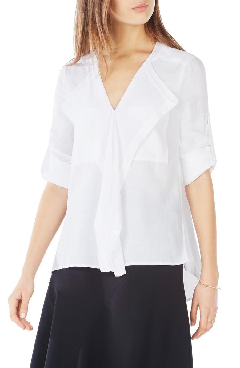BCBGMAXAZRIA 'Eveline' Cotton Blend Top, Main, color, 100