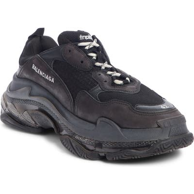Balenciaga Triple S Clear Sole Trainer Sneaker, Black