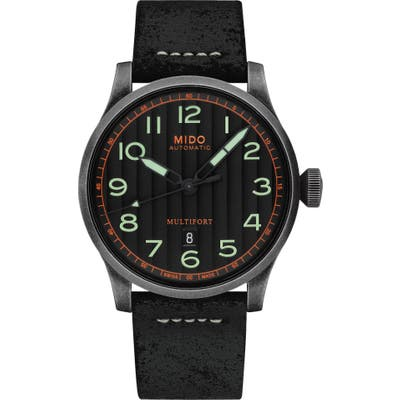 Mido Multifort Escape Leather Strap Watch, 4m