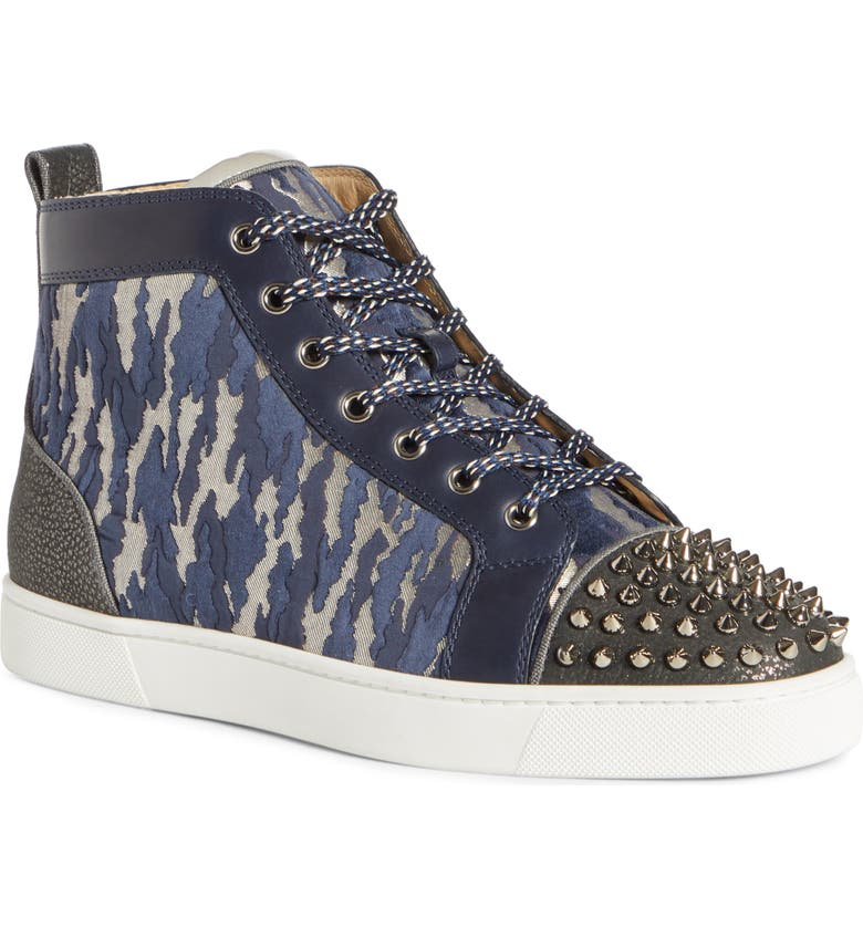 CHRISTIAN LOUBOUTIN Lou Spikes High Top Sneaker, Main, color, VERSION MULTI BLACK