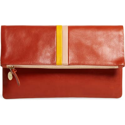Clare V. Leather Foldover Clutch - Red