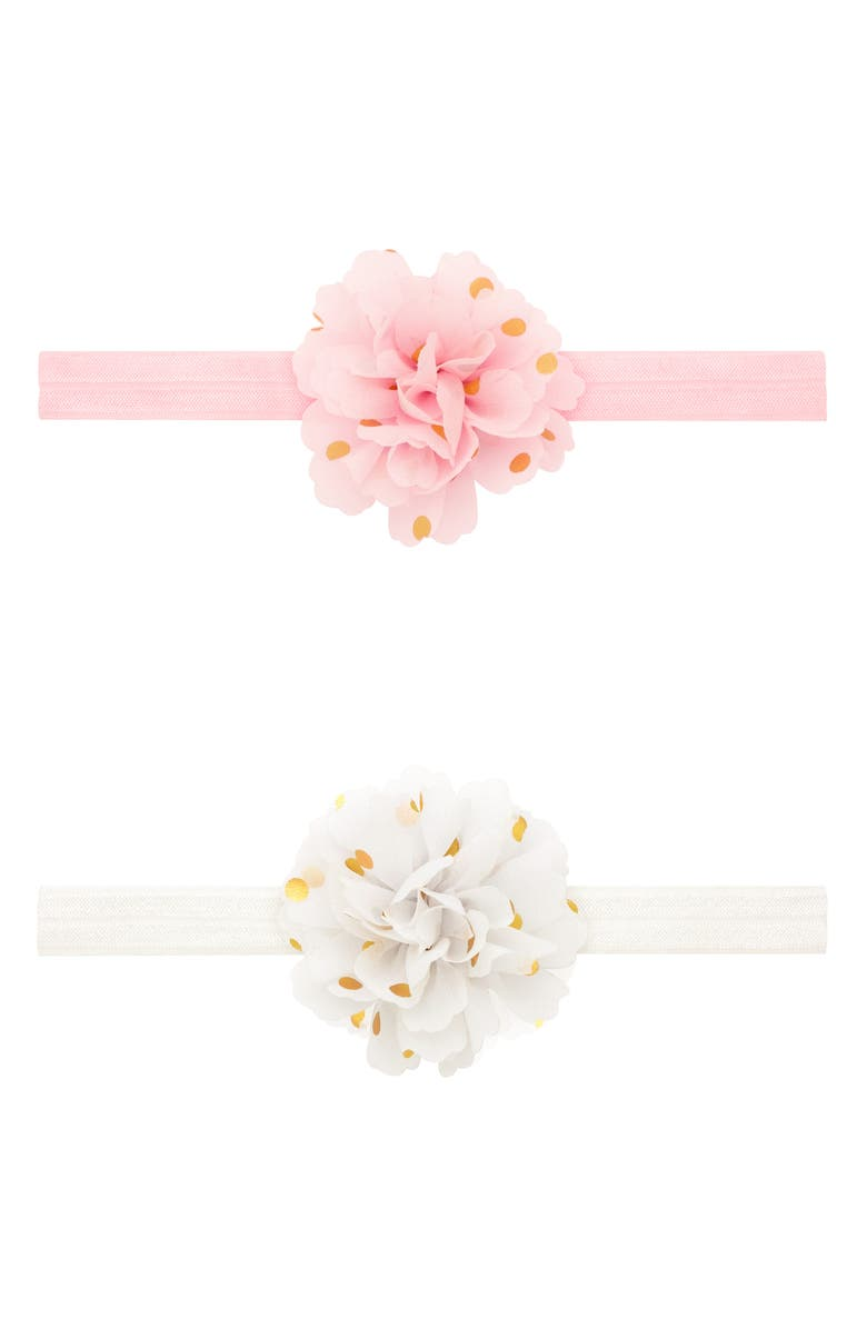 PLH BOWS 2-Pack Golden Dot Chiffon Flower Headbands, Main, color, WHITE/ LIGHT PINK
