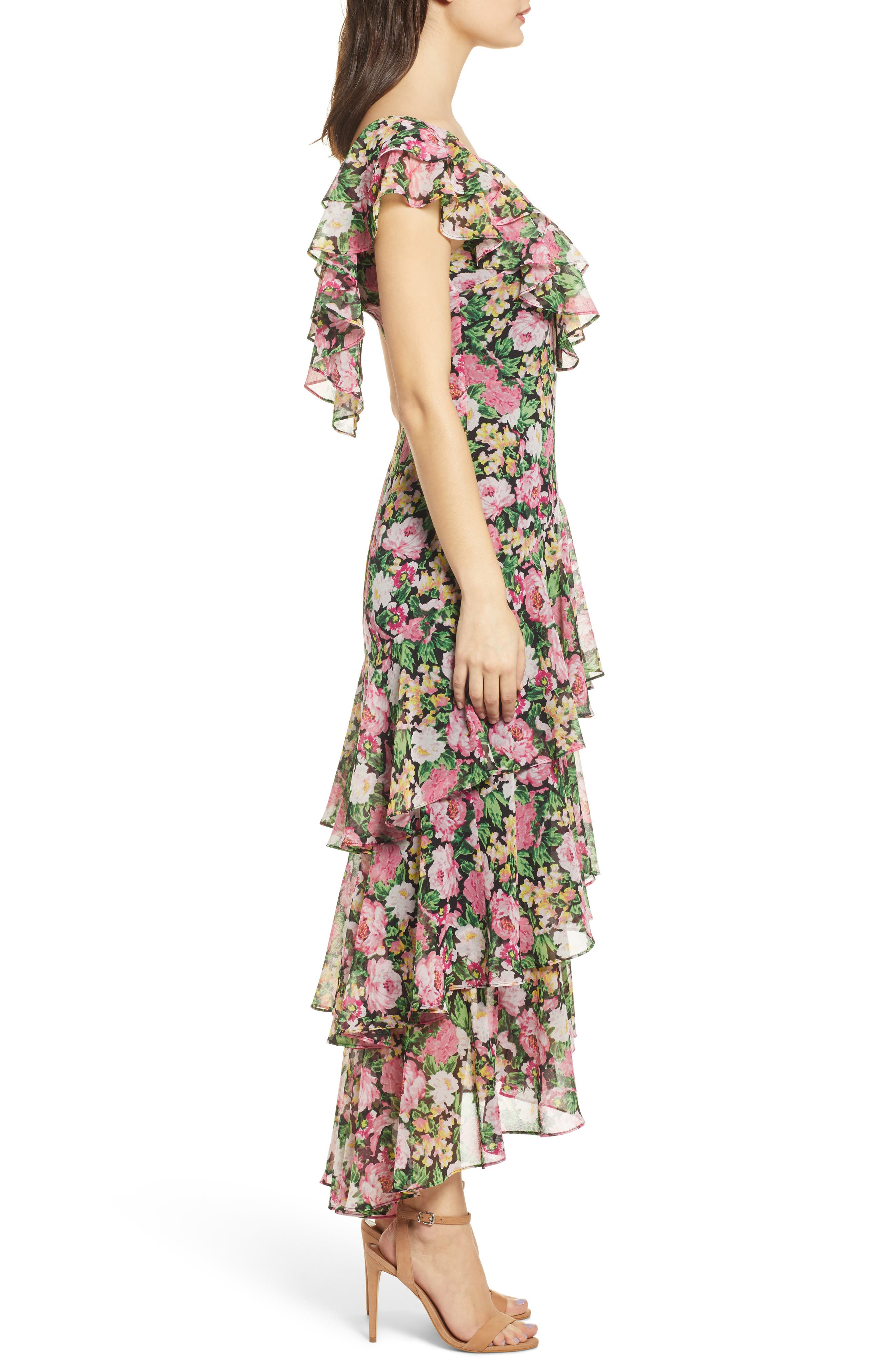 ,                             Chelsea Tiered Ruffle Maxi Dress,                             Alternate thumbnail 4, color,                             BLACK PINK ROSES PRINT
