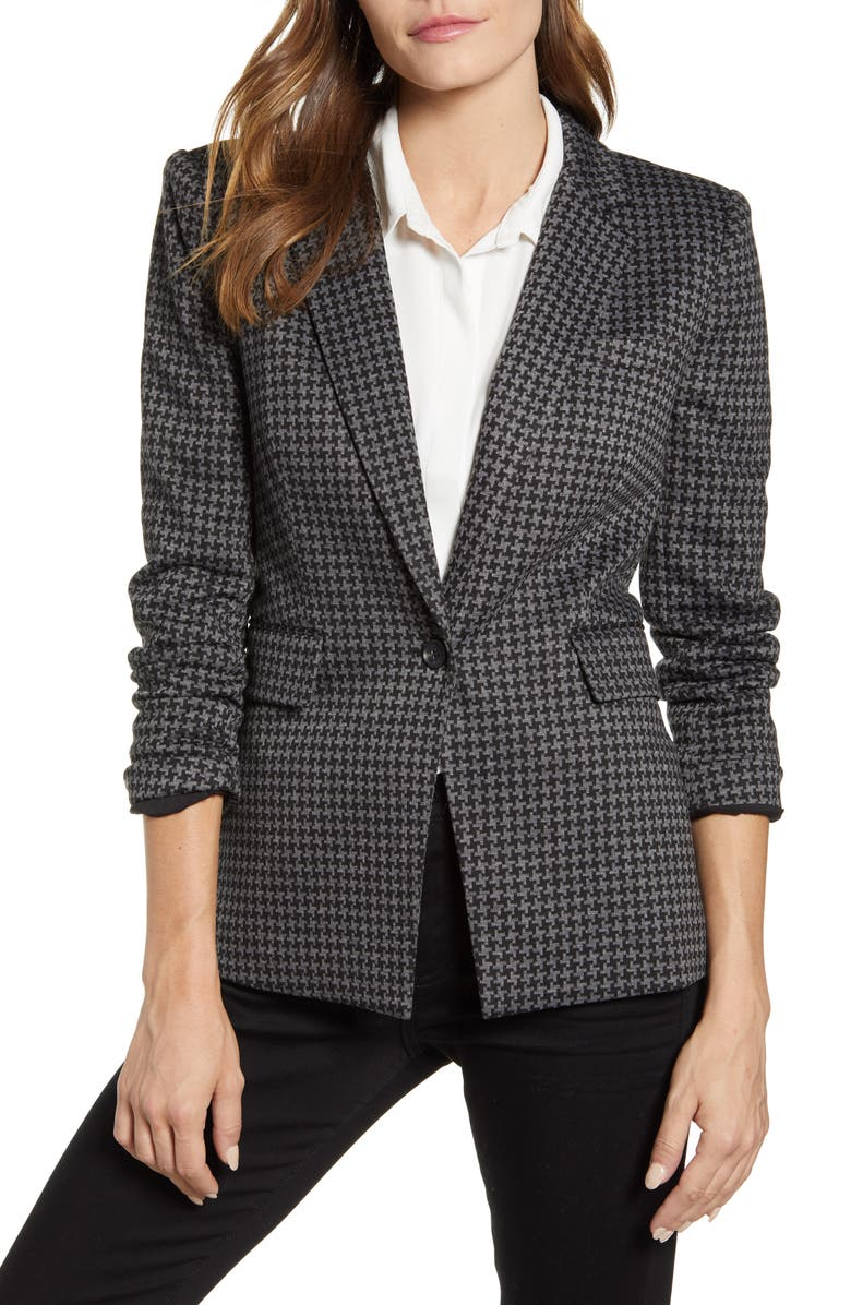 VINCE CAMUTO Houndstooth Ponte Blazer, Main, color, RICH BLACK