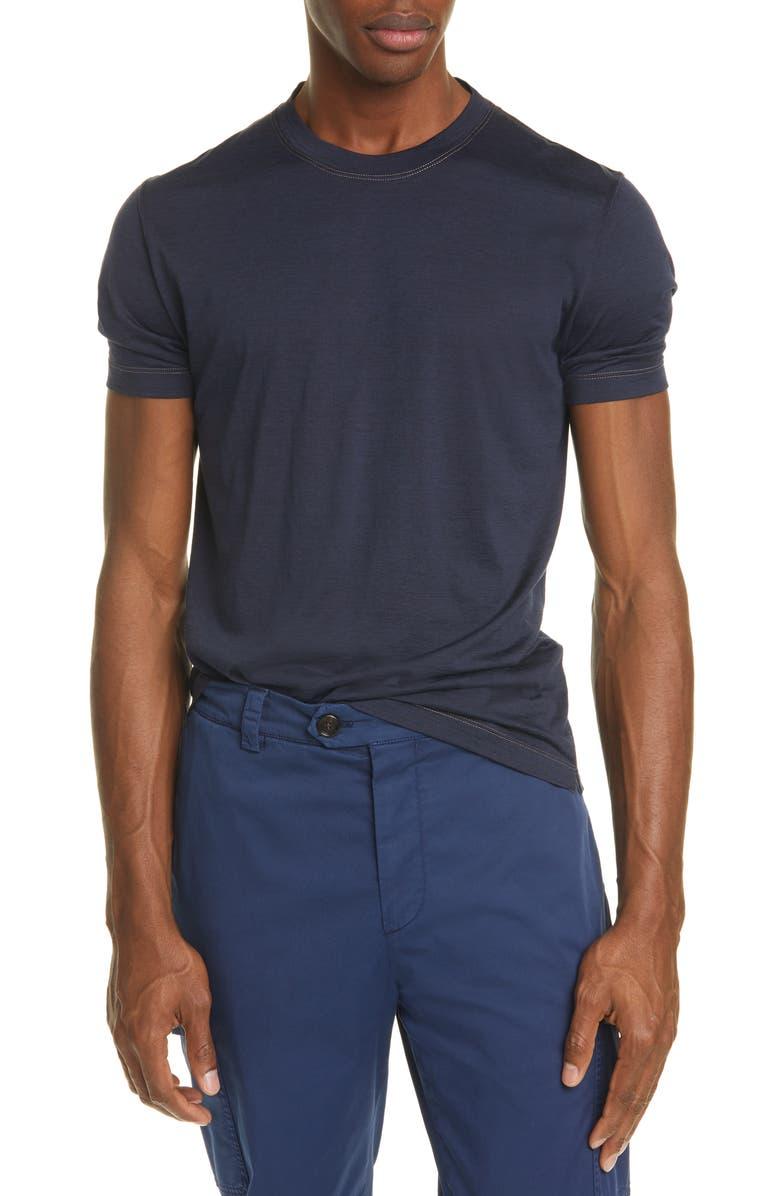 BRUNELLO CUCINELLI Silk & Cotton Crewneck T-Shirt, Main, color, 405