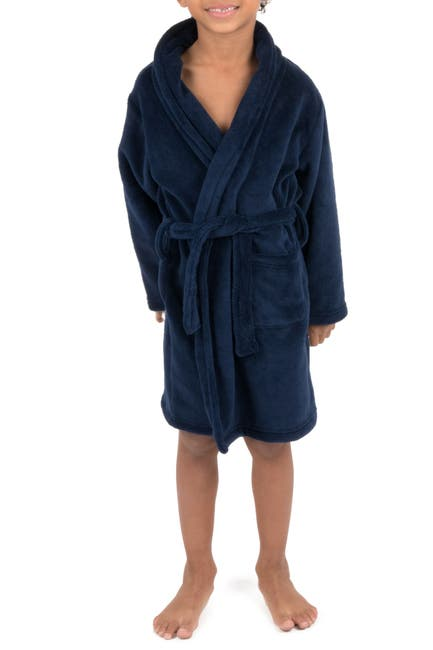 Image of Leveret Navy Shawl Collar Fleece Robe