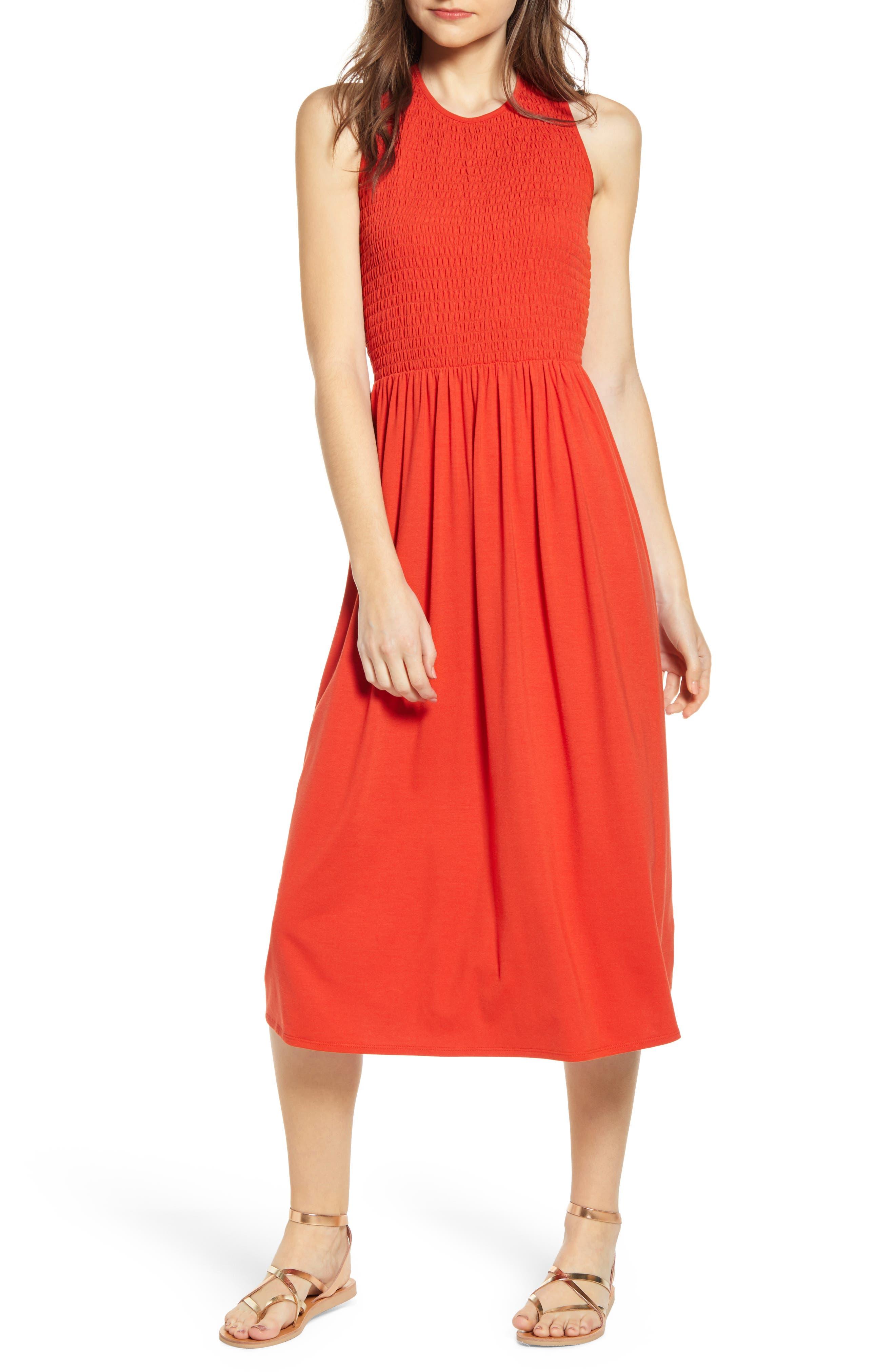 Bp. Smocked Midi Dress, Orange