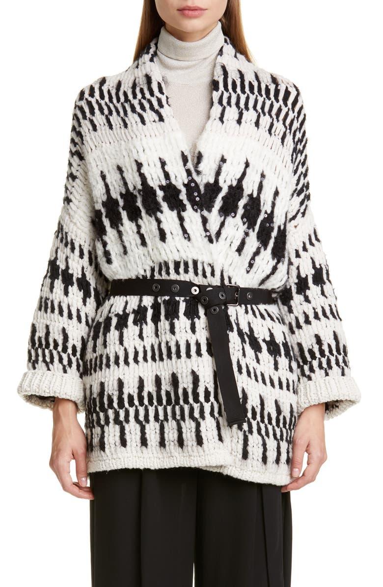 BRUNELLO CUCINELLI Nordic Belted Cashmere Blend Cardigan, Main, color, 250