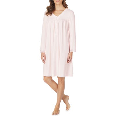 Eileen West Lace Trim Knit Nightgown, Pink