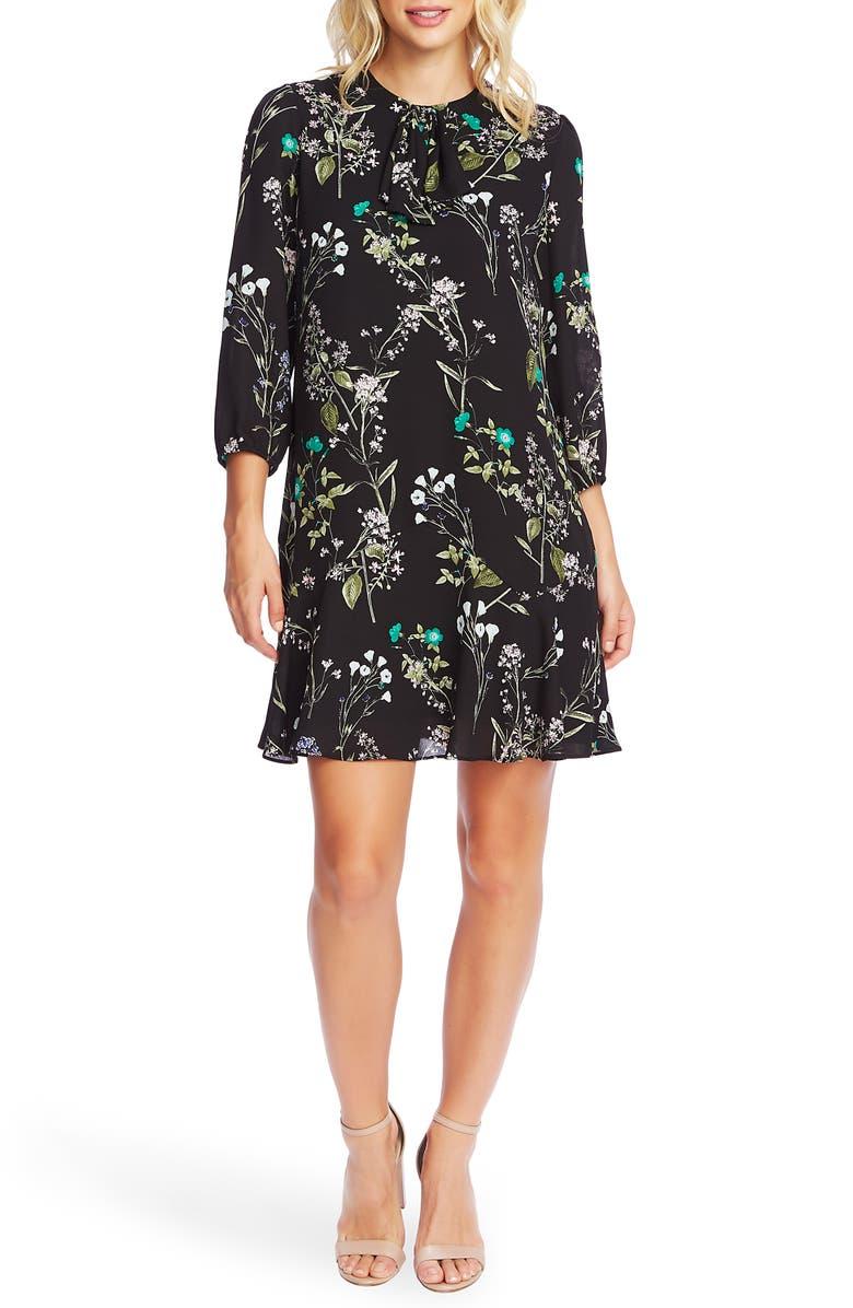 CECE Winter Botanical Shift Dress, Main, color, RICH BLACK