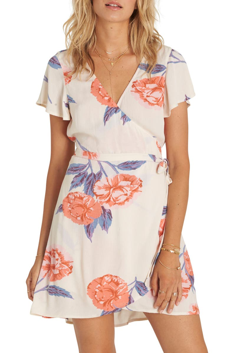 BILLABONG Hold Me Tight Floral Print Wrap Dress, Main, color, 900
