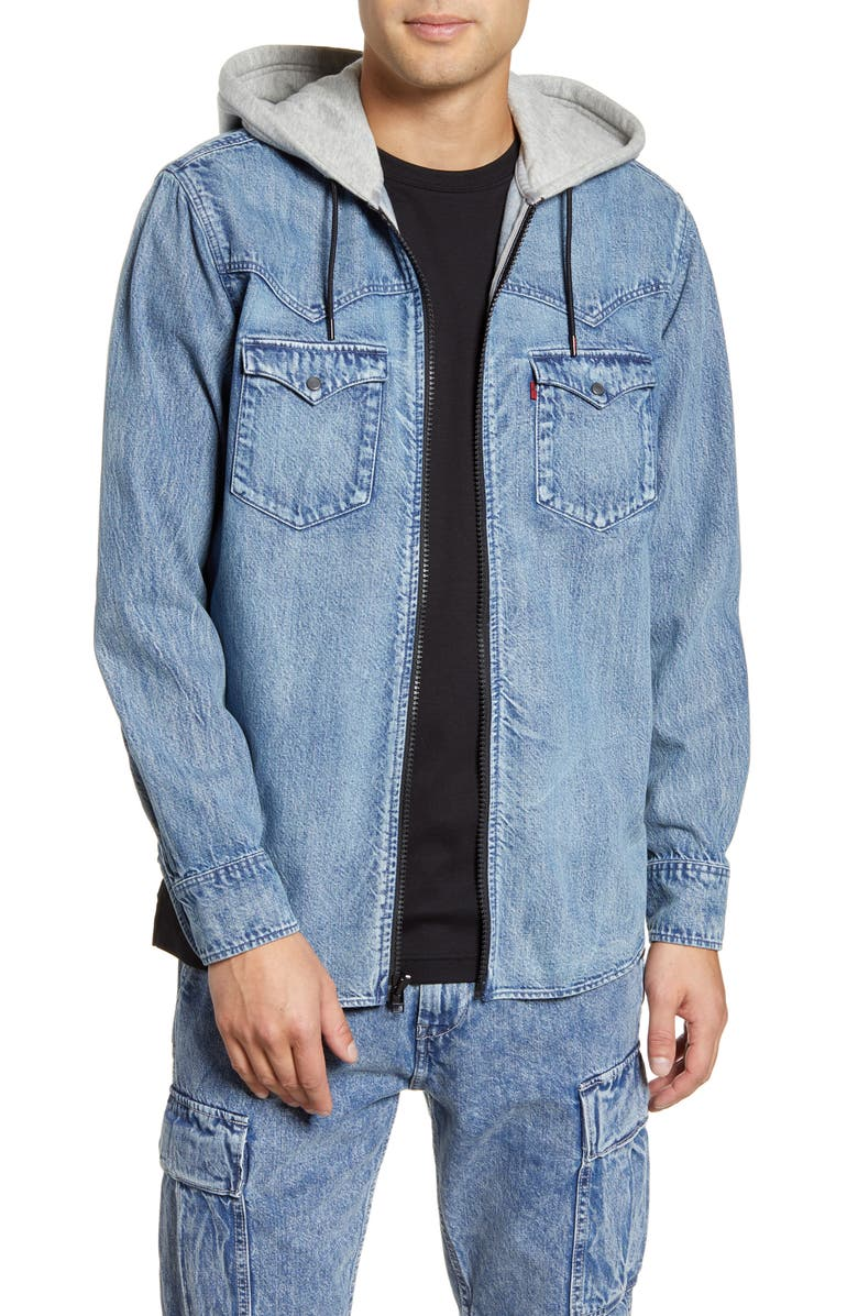 LEVI'S<SUP>®</SUP> x Justin Timberlake Hooded Zip-Up Western Shirt, Main, color, DENIM