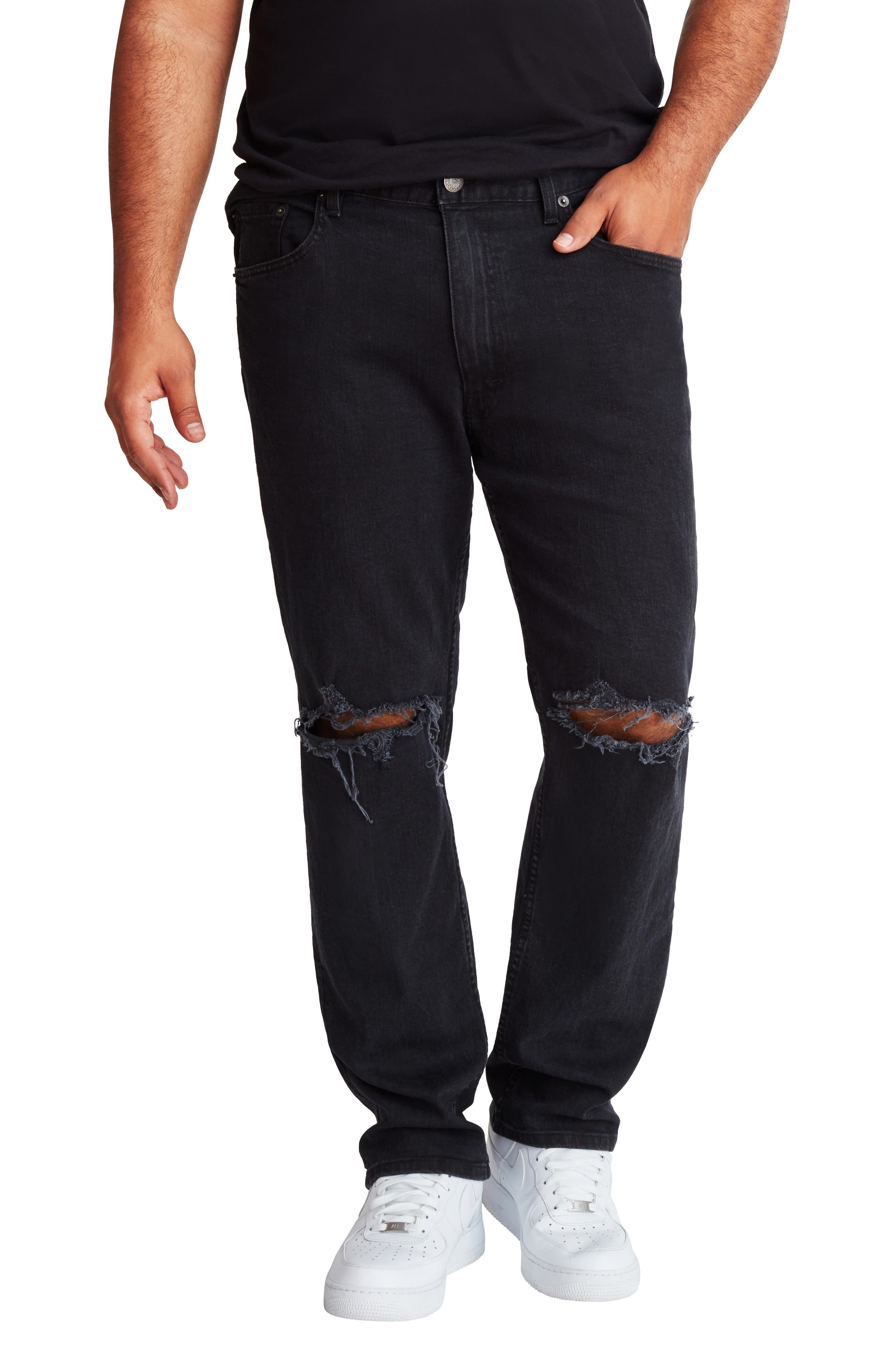 Athletic Fit Ripped Straight Leg Jeans