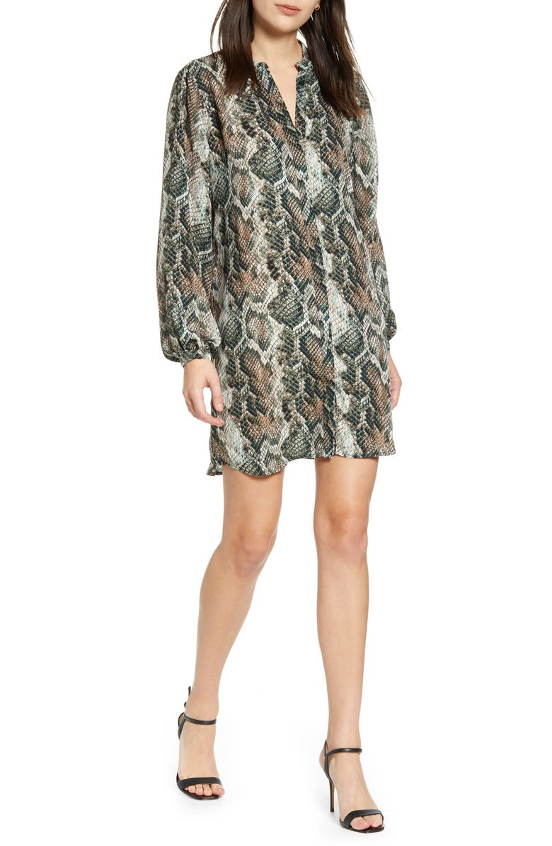 CUPCAKES AND CASHMERE Clara Long Sleeve Snake Print Dress, Main, color, DEEP FOREST
