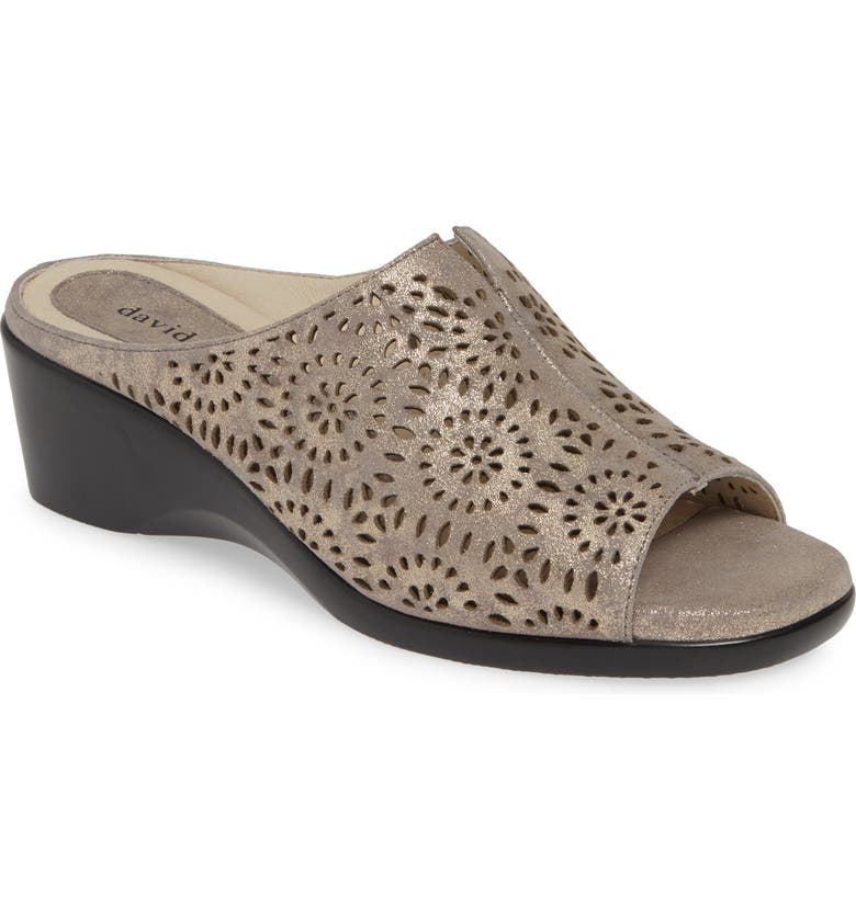 DAVID TATE Sublime Wedge Sandal, Main, color, PEWTER ANTIQUE LEATHER