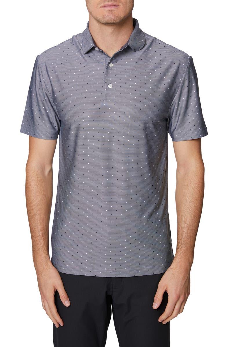 HICKEY FREEMAN Regular Fit Dot Print Polo, Main, color, CHARCOAL