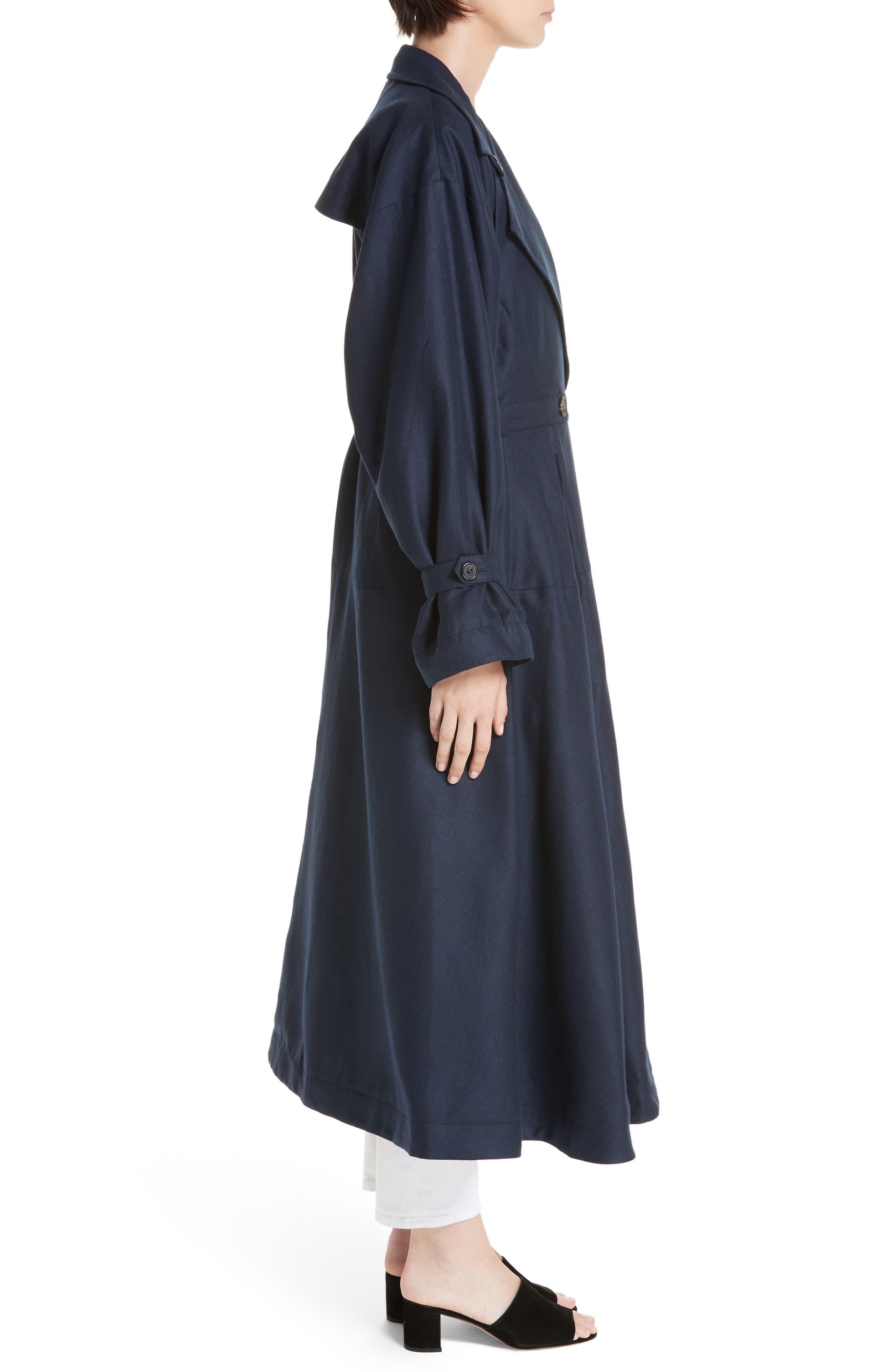,                             Carved Wool & Linen Coat,                             Alternate thumbnail 3, color,                             NAVY HERRINGBONE LINEN