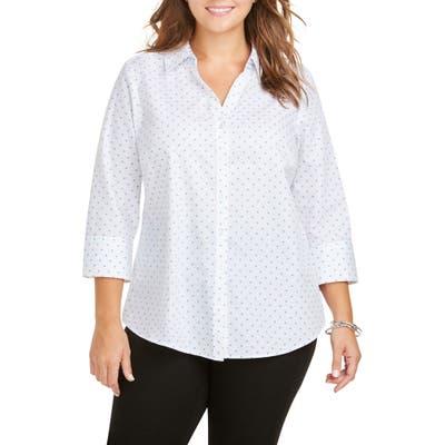 Plus Size Foxcroft Mary Star Dot Shirt, Blue